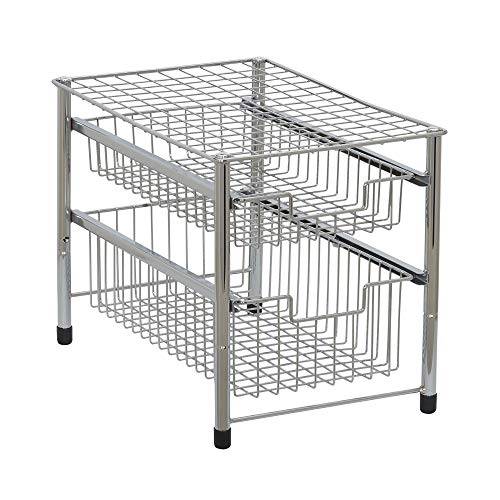 (Amazon) Household Essentials Silver 1239-1 Free Standing Pull Out Cabinet Organizer Shelf | Double, 16.5″ Deep