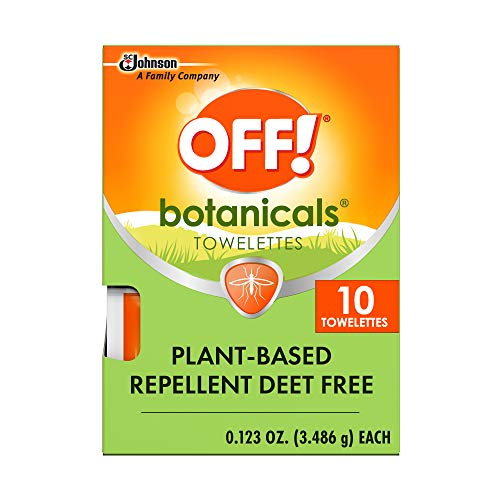 (Amazon) OFF! Botanicals Mosquito and Insect Repellent Wipes, Plant-Based*, Deet-Free**, Easy to Apply, 10 Individually Wrapped Wipes