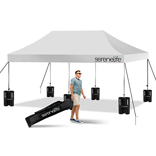 (Amazon) Pop Up Canopy Tent 10×20 – Commercial Instant Shelter Foldable/Collapsible Sun Shade Canopy Pop Up Tent w/Waterproof Tent Top, Portable Carry Bag & Sand Bag – SereneLife SLGZ20W (White)