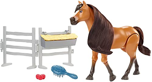 (Amazon) Spirit Untamed Spirit Untamed Forever Free Spirit Horse (8-in) with Realistic Walking Feature, Neighing Sounds, Long Mane & Tail Hair, Brush, Hay Bale, & Apple Snack Accessories
