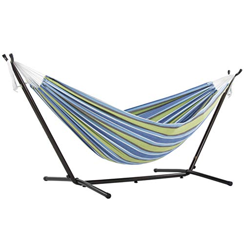 (Amazon) Vivere Double Cotton Hammock with Space Saving Steel Stand, Oasis (450 lb Capacity – Premium Carry Bag Included)