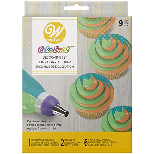 (Amazon) Wilton Color Swirl, 3-Color Piping Bag Coupler, 9-Piece Cake Decorating Kit