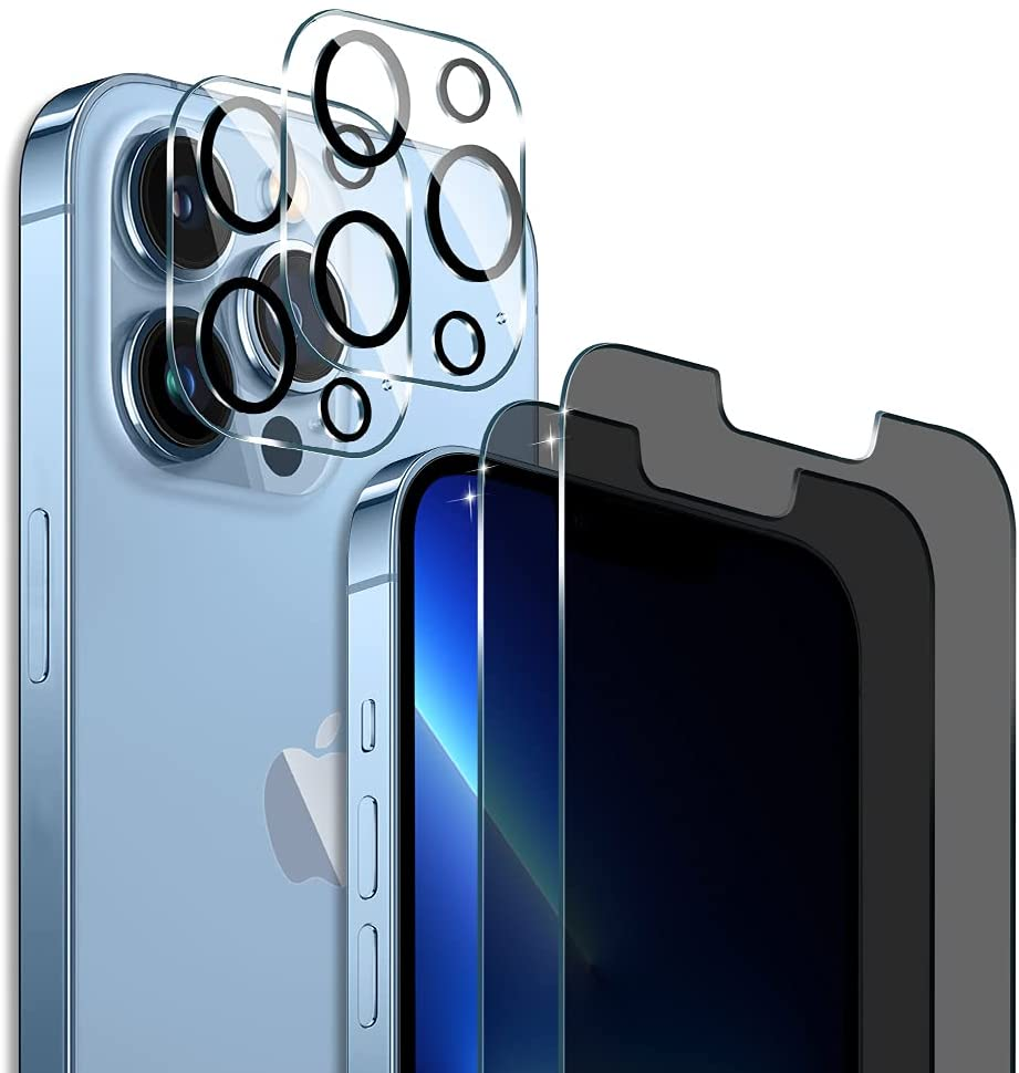 *FREE*[2+2 Packs] PULEN Designed for iPhone 13 Pro Max Privacy Screen Protector with Camera Lens Protector!