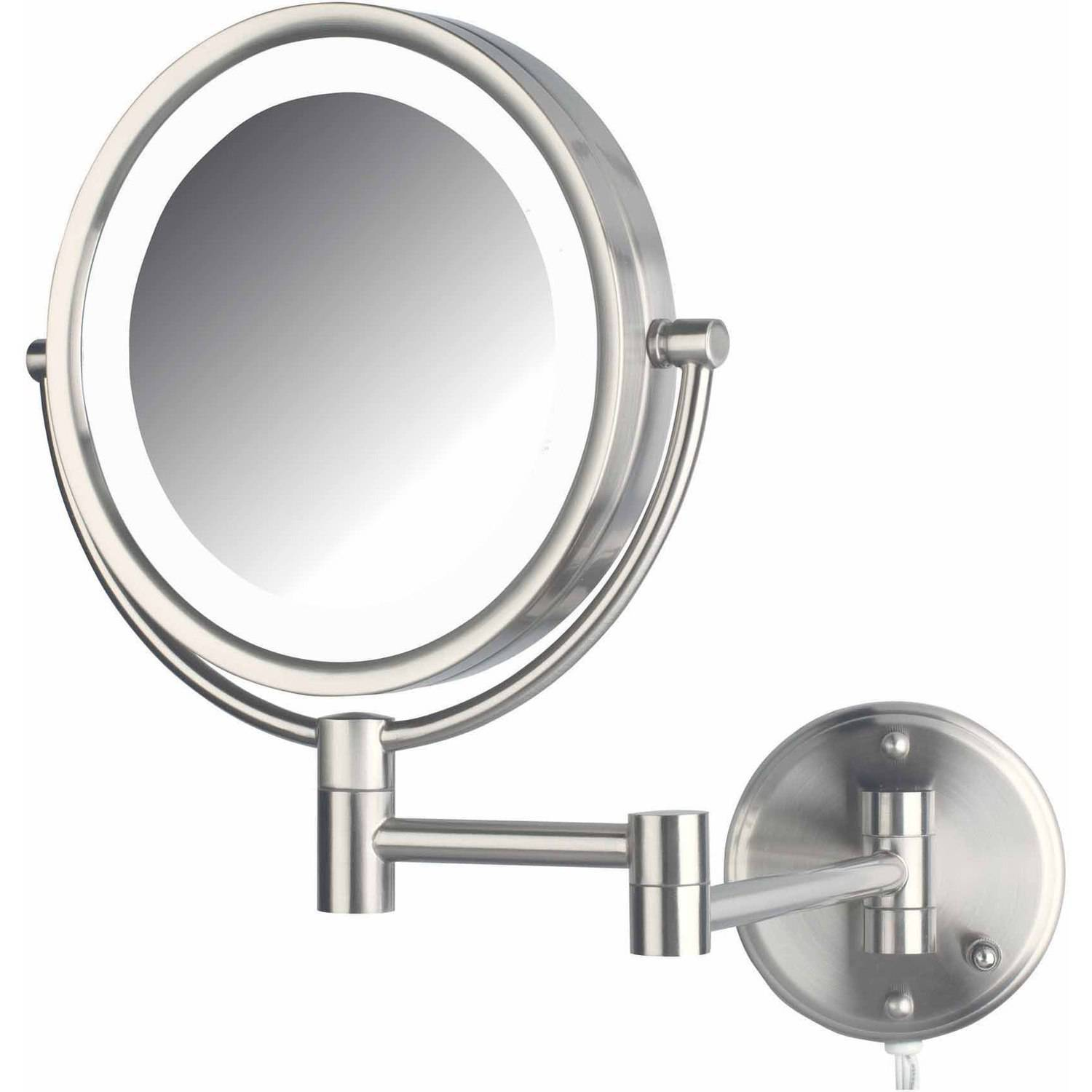 Jerdon HL88NL 8.5″ LED Lighted Wall Mount Makeup Mirror with 8x Magnification, Nickel Finish (Walmart)