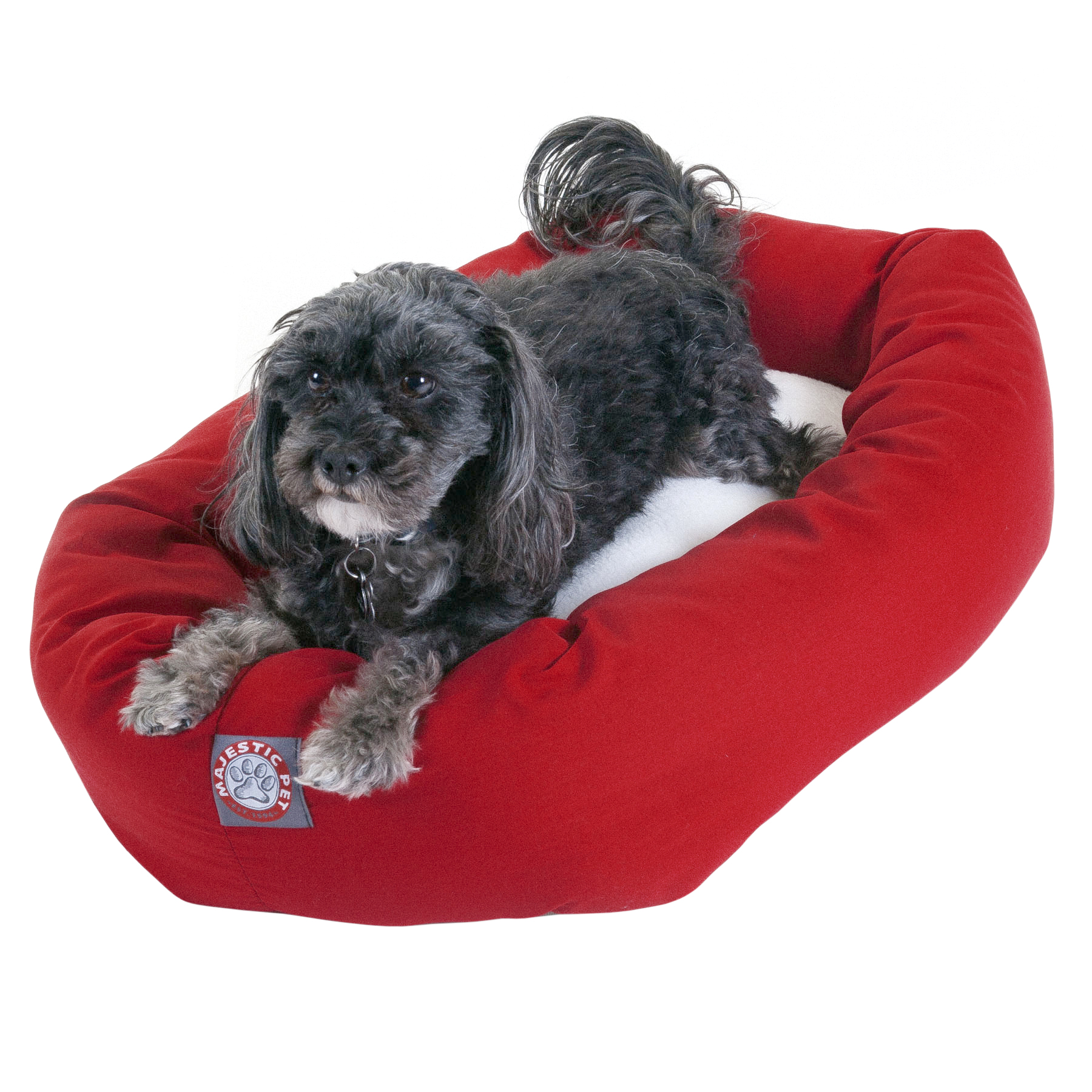 Majestic Pet Poly/Cotton & Sherpa Bagel Dog Bed Machine Washable Red Small 24″ x 19″ x 7″ (Walmart)
