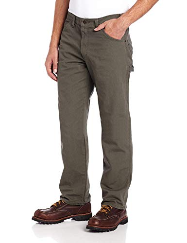 (Amazon) Dickies Men's Relaxed Fit Straight-Leg Duck Carpenter Jean, Moss, 34W x 36L