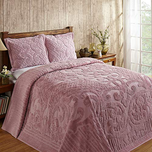 (Amazon) Better Trends Ashton Collection Is Super Soft And Light Weight In Medallion Design 100 Pecent Cotton Tufted Unique Luxurious Machine Washable Tumble Dry, Queen Bedspread, Pink