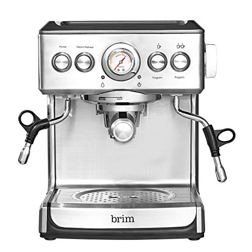 (Amazon) Brim 19 Bar Espresso Machine, Fast Heating Cappuccino, Americano, Latte and Espresso Maker, Milk Steamer and Frother, Removable Parts for Easy Cleaning, Stainless Steel