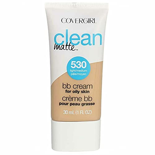 (Amazon) COVERGIRL Clean Matte BB Cream For Oily Skin, Light/Medium 530, (Packaging May Vary) Water-Based Oil-Free Matte Finish BB Cream, 1 Fl Oz (1 Count)