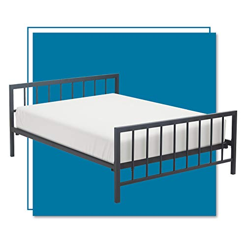 (Amazon) ClickDecor Evans Platform Bed Frame with Matte Black Metal Headboard, Low Profile, Modern Design, Wood Slats Support, No Spring Box Needed, Queen