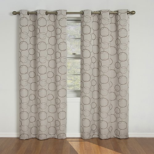 (Amazon) ECLIPSE Meridian Modern Blackout Thermal Grommet Window Curtain for Bedroom or Living Room (Single Panel), 42″ x 108″, Linen