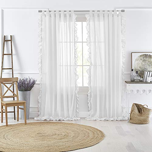 (Amazon) Elrene Home Fashions Bella Tab-Top Ruffle Sheer Window Curtain Panel for Living, Dining Room, Bedroom, 52″ x 84″ (1, White