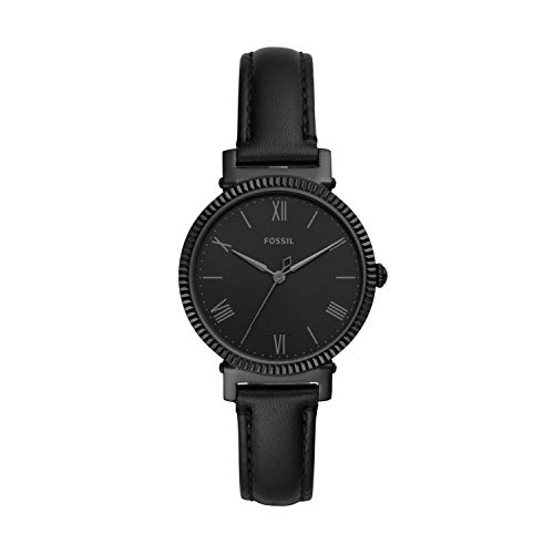 (Amazon) Fossil Women's Daisy Quartz Stainless Steel and Leather Three-Hand Watch, Color: Black Glitz (Model: ES4863)