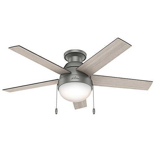 (Amazon) Hunter Anslee Indoor Low Profile Ceiling Fan with LED Light and Pull Chain Control, 46″, Matte Silver