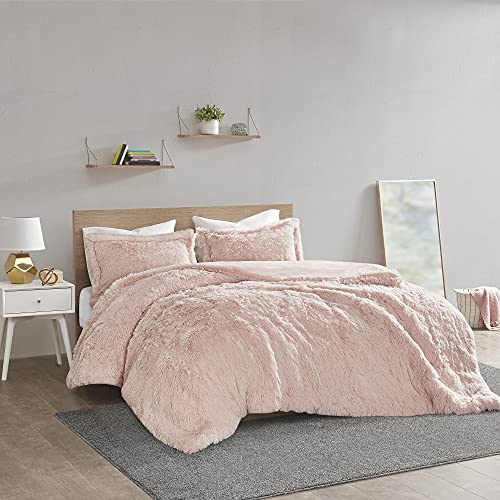 (Amazon) Intelligent Design Malea Shaggy Duvet with Quilted Box Design, Long Faux Fur Comforter Cover Cozy Bedding Set, Matching Shams, (Insert Not Included) Full/Queen, Blush 3 Piece