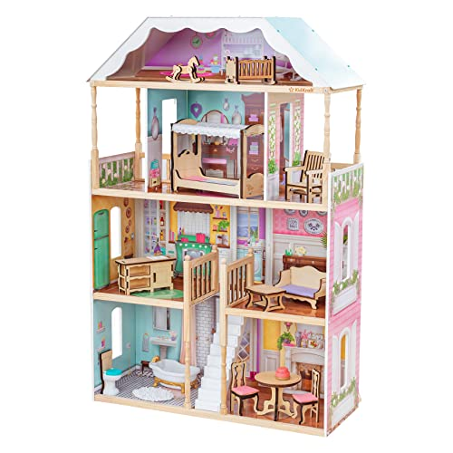(Amazon) KidKraft Charlotte Classic Wooden Dollhouse with EZ Kraft Assembly, 14-Piece Accessory Set, for 12-Inch Dolls, Gift for Ages 3+