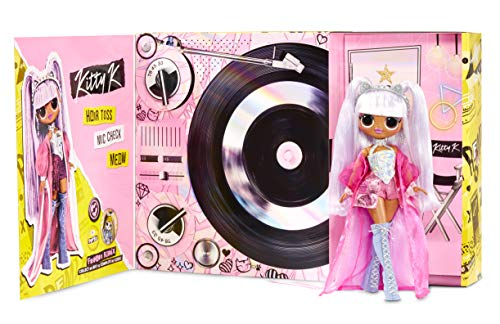(Amazon) LOL Surprise OMG Remix Kitty K Fashion Doll – with 25 Surprises, Plays Music, with Extra Outfit, Shoes, Hair Brush, Doll Stand, Lyric Magazine, and Record Player Package – For Girls Ages 4+