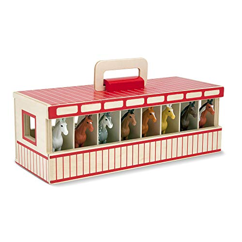 (Amazon) Melissa & Doug Take-Along Show-Horse Stable Play Set With Wooden Stable Box and 8 Toy Horses