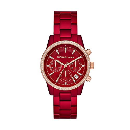 (Amazon) Michael Kors Women's Ritz Quartz Watch with Stainless-Steel-Plated Strap, red, 18 (Model: MK6665)