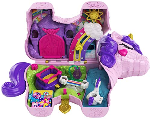 (Amazon) Polly Pocket Unicorn Party Large Compact Playset with Micro Polly & Lila Dolls, 25+ Surprises to Discover & Fun Princess Party Play Areas: Bouncy House, Castle, Swings, Water Floatie & More