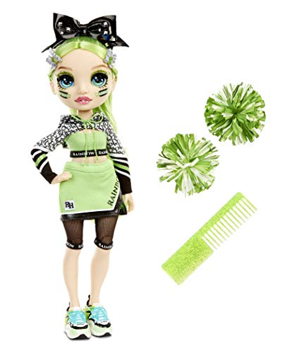 (Amazon) Rainbow High Cheer Jade Hunter – Green Cheerleader Fashion Doll with 2 Pom Poms and Doll Accessories, Great Gift for Kids 6-12 Years Old