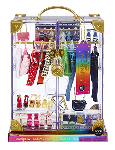 (Amazon) Rainbow High Deluxe Fashion Closet Playset–400+ Fashion Combinations! Portable Clear Acrylic Toy Closet Features 31+ Fashion Forward Pieces, Doll Clothing, Doll Accessories & Doll Storage | Ages 6-12