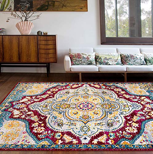 (Amazon) Rugshop Vintage Distressed Bohemian Area Rug 5′ x 7′ Red