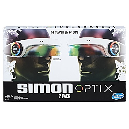 (Amazon) Simon Optix Game – 2 Headsets Included – Wearable Version of a Classic Game – Raise Your Hands in The Correct Color Pattern to Succeed – Play Solo or with Your Friends – Batteries Not Included