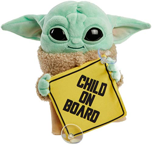 """(Amazon) Star Wars Grogu Plush """"Child on Board"""" Sign +Toy, 8-in Character from The Mandalorian, Soft, Collectible Cuddle Toy & Automobile Signage"""