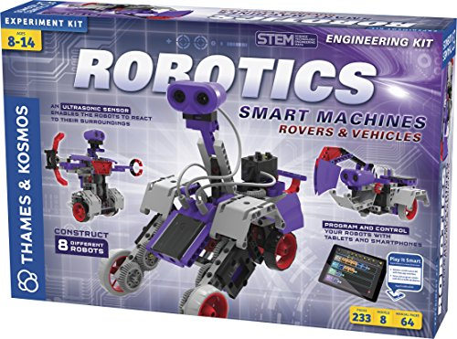 (Amazon) Thames & Kosmos | Robotics Smart Machines: Rovers & Vehicles | Kids 8+ | STEM Kit builds 8 Robots | Color Manual to help with assembly | Requires tablet or smartphone