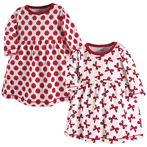 (Amazon) Touched by Nature Girls' Baby/Toddler Organic Cotton Short Dresses, Bows Long Sleeve, 6-9 Months