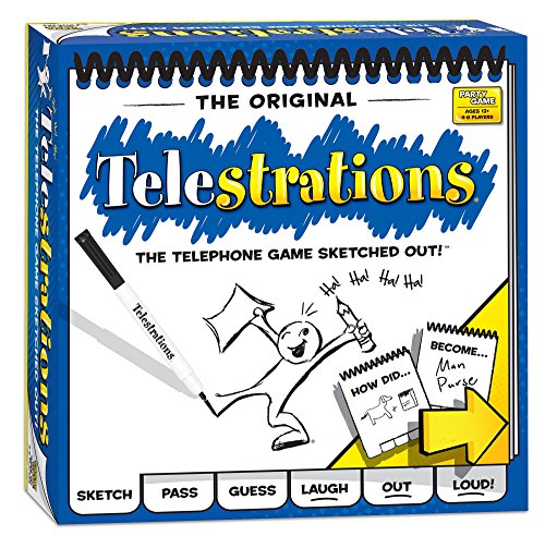 (Amazon) USAOPOLY Telestrations Original 8 Player, Family Board Game, A Fun Family Game for Kids and Adults, Family Game Night Just Got Better, The Telephone Game Sketched Out, Multicolor