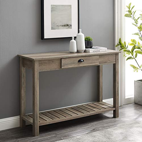 (Amazon) Walker Edison Rustic Wood Farmhouse Entryway Accent Table with Storage Drawer Entry Table Living Room End Table, 48 Inch, Grey