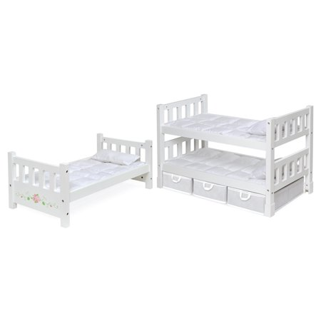 Badger Basket 1-2-3 Convertible Doll Bunk Bed with Bedding, Baskets, and Free Personalization Kit – White Rose – Fits American Girl, My Life As & Most 18″ Dolls (Walmart)