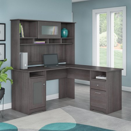 Cabot Modern 60 W L Desk with Hutch, includes 1 File Drawer, 1 Box Drawer and Storage in Heather Gray (Walmart)