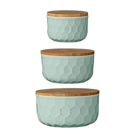Desert Fields Round Mint Green Stoneware Bowls with Bamboo Lid, 6″, Set of 3 Pieces (Walmart)