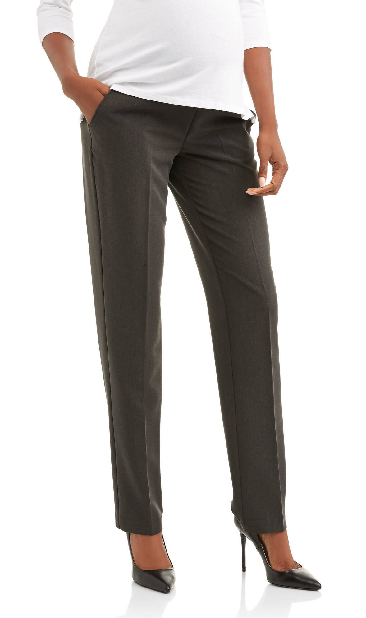 Maternity Oh! Mamma Straight Leg Career Pant with Full Panel (Available in Plus Sizes) (Walmart)
